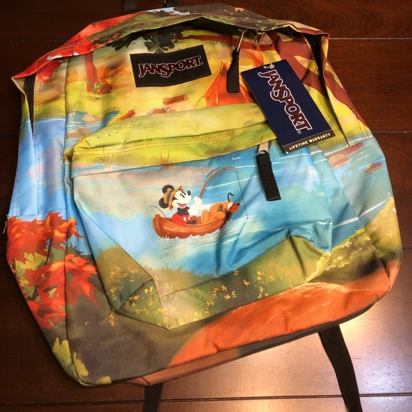 9d0266c7e80 Jansport Disney Backpack Mickey Pluto Fishing Boat